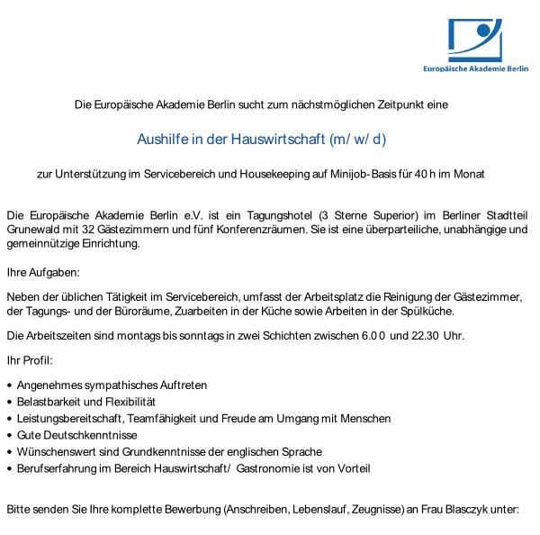 Stellenanzeige Europäische Akademie Berlin in Grunewald