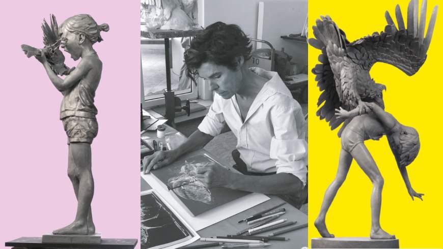 Kristin Kolb in ihrem Atelier und zwei skulpturale Werke - Auszug aus dem Ausstellungsexposé -  Arabisches Kulturhaus — Der Divan